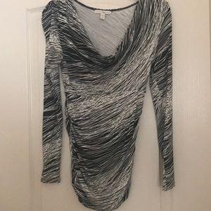 WESTON WEAR Cowl Neck Long-Sleeve Printed Top